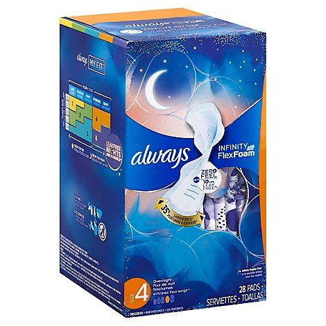 Always Pads W/wings Infinity Overnight - 28 CT