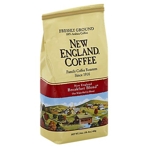 New England Coffee Ground Breakfast Blend Caffeine Foil Bag - 24 OZ
