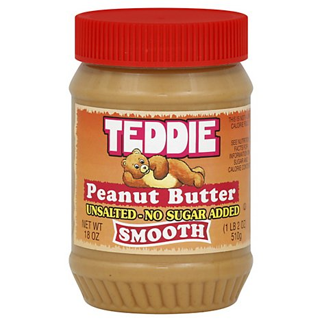 Teddie Regular Smooth Peanut Butter No Salt Added 18oz - 18 OZ