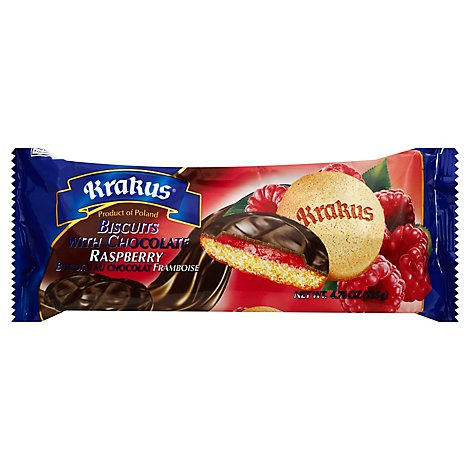 Krakus Chocolate Raspberry Cookie Biscuit - 4.76 OZ
