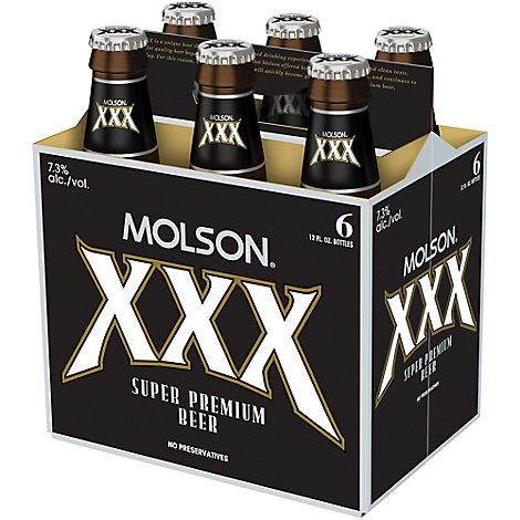Molson Xxx Lager Beer 6 Count Long Neck Bottles - 6-12 FZ