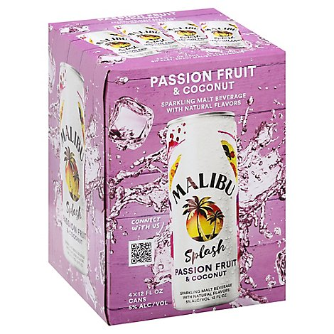 Malibu Splash Passion Fruit & Coconut In Cans - 4-12 FZ