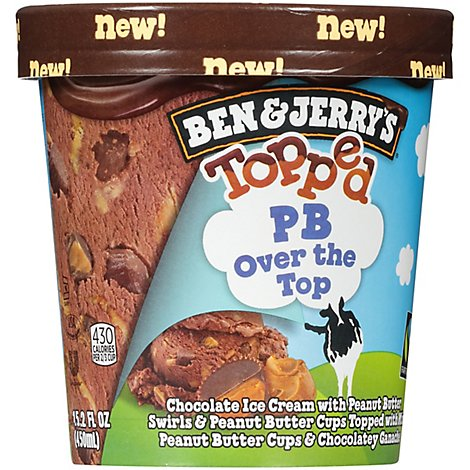 Ben & Jerrys Topped Peanut Butter Pb Over The Top - 1 PT