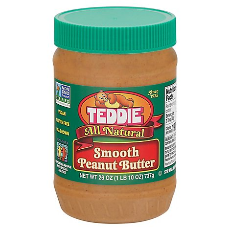 Teddie Natural Smooth Peanut Bitter 26oz - 26 OZ