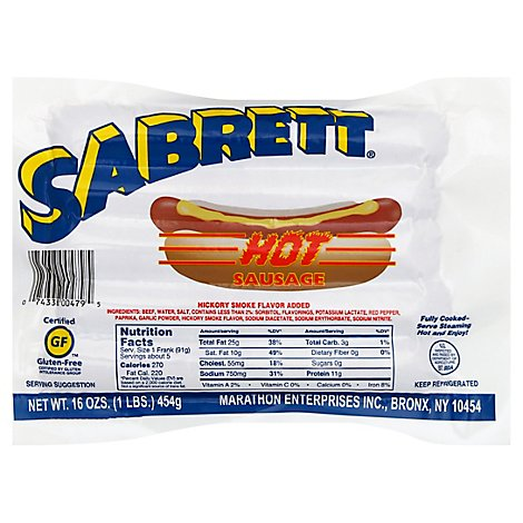Sabrett Hot Beef Sausage - 16 OZ