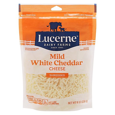 Lucerne Ches Cheddar White Mild Shred - 8 OZ