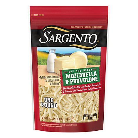 Sargento Off The Block Traditional Cut Whole Milk Mozzarella And Provolone - 16 OZ