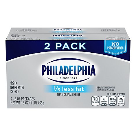 Philadelphia 1/3 Less Fat Cream Cheese - 2-8 OZ