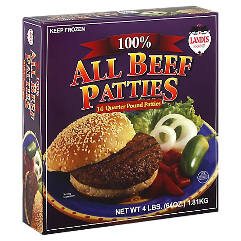 Landis Beef Patties Quarter Pound - 4 LB