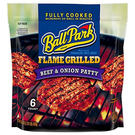 Ball Park Beef Patty Onion Fully Cooked - 16.2 OZ