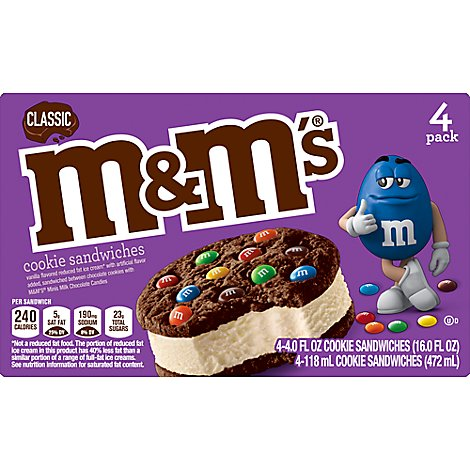 M&m's Classic Ice Cream Sandwich Multi Pack 16 Fluid Ounce 4 Count - 16 FZ