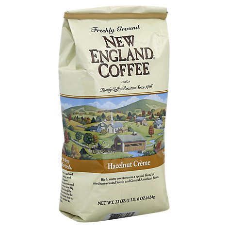 New England Coffee Ground Hazelnut Creme Caffeine Foil Bag - 22 OZ