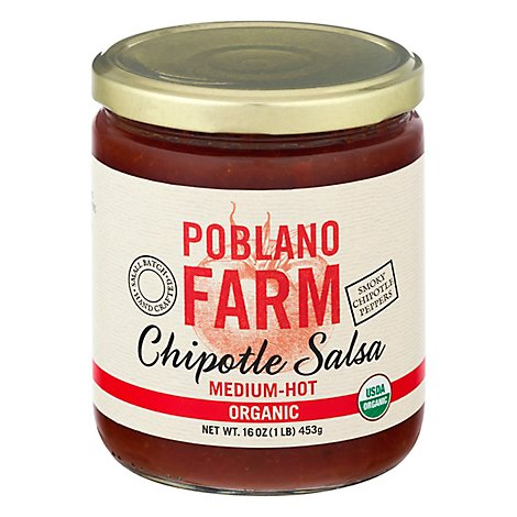 Poblano Farm Salsa Chipotle Medium - 16 OZ