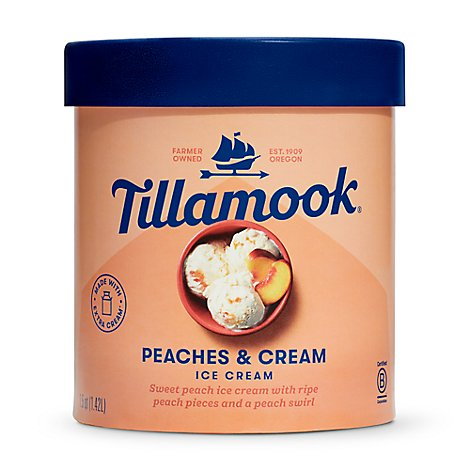 Tillamook Original Premium Peaches And Cream Ice Cream - 1.5 QT