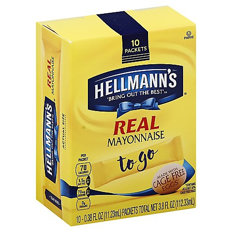 Hellmanns Real Mayonnaise Made With Cage Free Eggs To Go - 10-.38 FZ