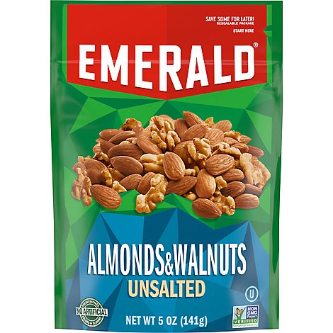 Emerald Walnuts And Almonds Snack Nuts Whole Natural Resealable Plstc Bag - 5 OZ