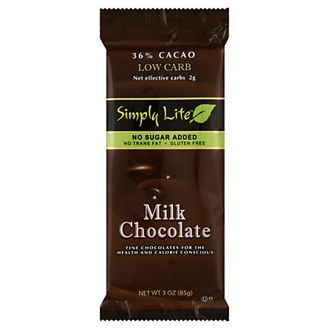 Simply Lite Milk Chocolate Bar - 3 OZ