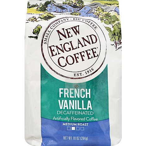 New England Coffee Ground French Vanilla Decaf Foil Bag - 10 OZ