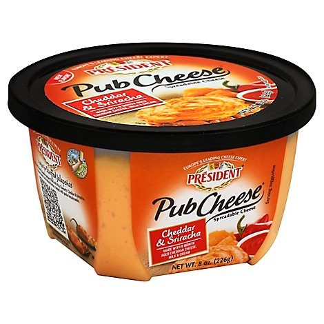 President Pub Sharp Cheddar Cheese And Sriracha Spread - 8 OZ