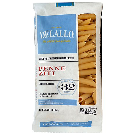 Delallo Pasta Bag Penne Ziti - 16 OZ