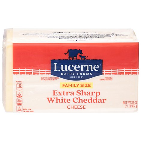 Lucerne Ches Cheddar White Chunk Xtra Sharp - 32 OZ