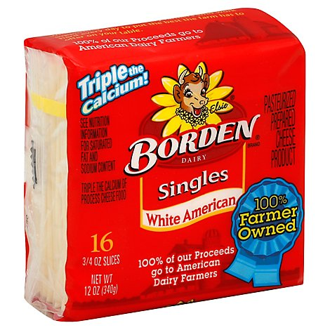 Borden Amer White Singles - 12 OZ