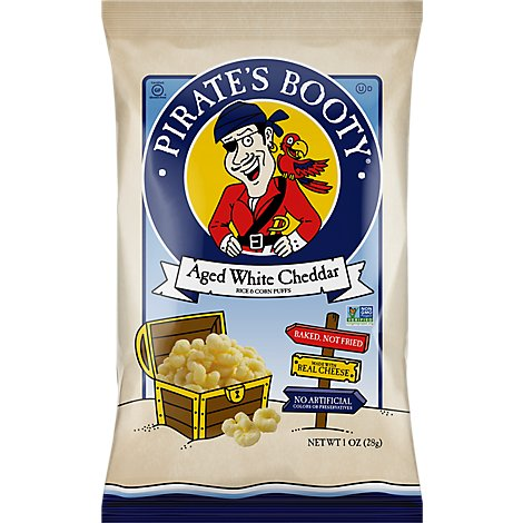 Pirates Booty Rice & Corn Puffs Baked Non GMO Aged White Cheddar - 1 Oz