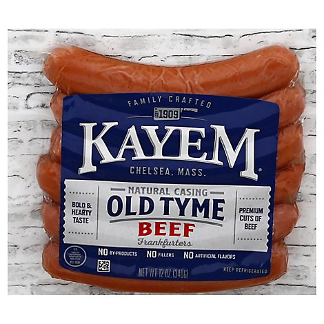 Old Tyme Beef Franks Natural Casing - 12 OZ