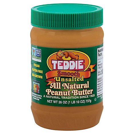 Teddie Creamy Natural No Salt Peanut Butter - 26 OZ