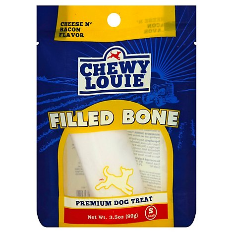 Chewy Louie Dog Treat Filled Bone Cheese N Bacon Small - Each