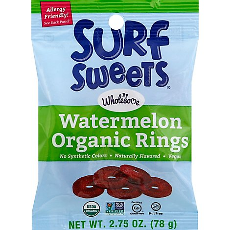 Surf Sweets Organic Gummy Ring Watermelon - 2.75 Oz
