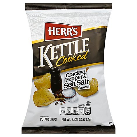 Herrs Sea Salt Cracked Pepper Potato Chips - 2.625 OZ