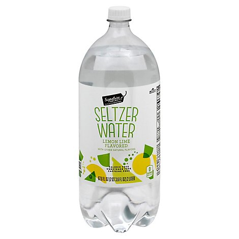 Signature Select Seltzer Water Lemon Lime Caffeine Free - 2 LT