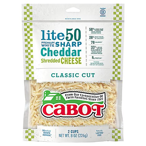 Cabot Light Cheddar Shreds Cheese - 8 OZ
