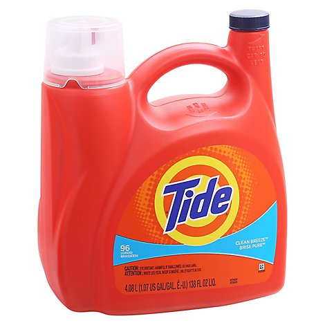 Tide Laundry Detergent Liquid Clean Breeze 96 Loads - 138 Fl. Oz.