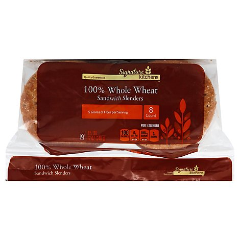 Signature Select 100% Whole Wheat Sandwich Thins - 12 OZ