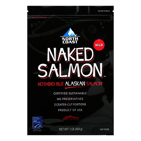 North Coast Naked Salmon Keta Alaskan Wild Caught Frozen Msc 5 Oz Portions - 1 LB