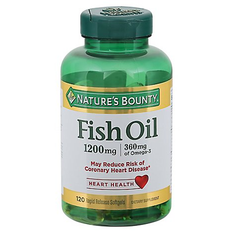 Natures Bounty 1200mg Fish Oil Softgels With Omega 3 And Omega 6 - 120 CT