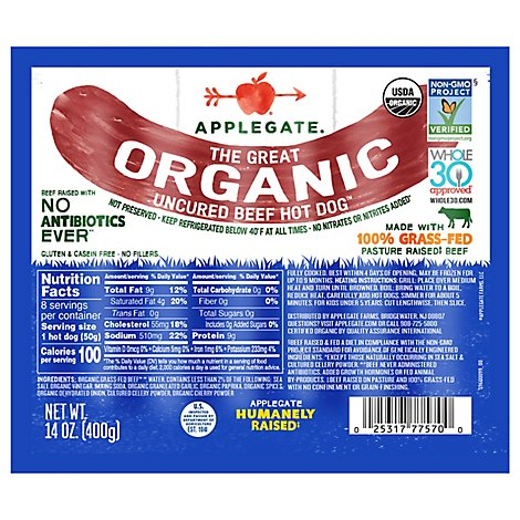 Applegate Farms The Great Organic Beef Hot Dog - 14 OZ