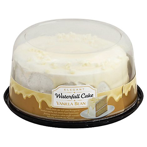 7 Inch 2 Layer Vanilla Bean Waterfall Cake - EA