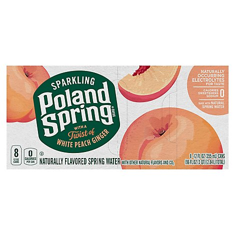 Poland Spring Spark White Peach Ginger Can - 8-12 FZ