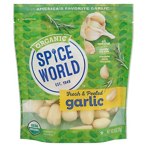 Spice World Garlic Peeled Organic Bag - EA