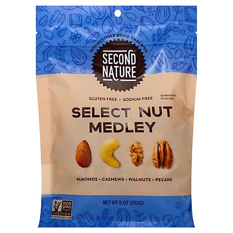 Second Nature Unsalted Select Nut Medley Trail Mix - 9 OZ