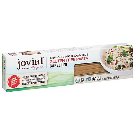 Jovial Organic Pasta Capellini Brown Rice Gluten Free - 12 Oz