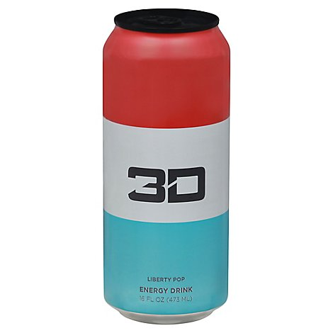3d Energy Drink Red White And Blue - 16 FZ