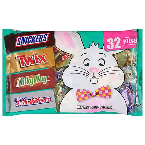 Mars Candy Snickers Twix Milky Way & 3 Musketeers Chocolate Easter Candy 32 Count - 9.5 Oz
