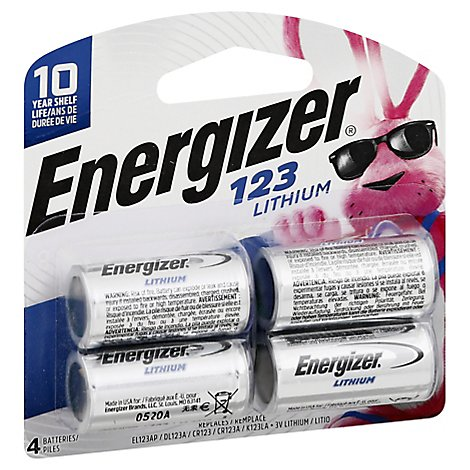 Energizer Batteries 123 Lithium - 4 Count