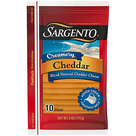 Sargento Creamery Cheddar Cheese 10 Slices Interleaved - 6 OZ