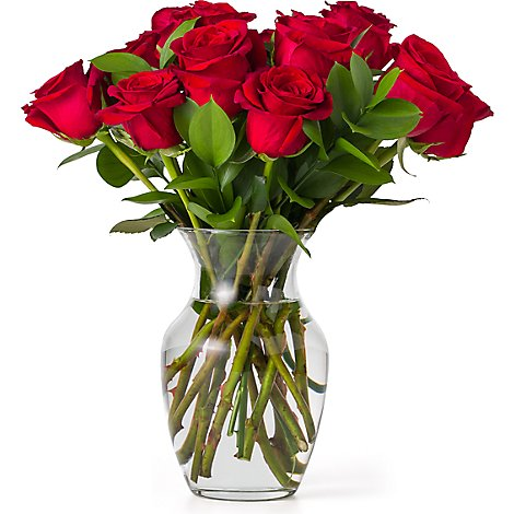 Debi Lilly Dozen Rose Arrangement With Vase - Each (flower colors and vase will vary)