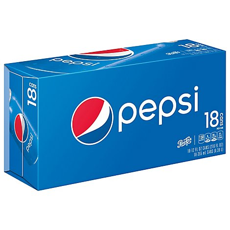 Pepsi Soda Cola 12 Fl Oz 18 Count - 18-12 OZ